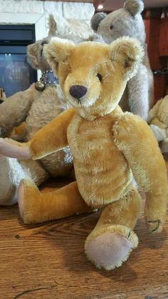 "Vintage 13"" Bristle Mohair Teddy Bear Excelsior Stuffed"