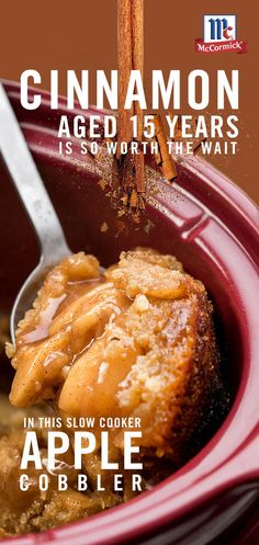 Fall in love with apple cobbler all over again – add sweet, rich flavor to this easy slow cooker cobbler recipe with McCormick Ground Cinnamon, made from trees aged for 15 years before harvest for more intense flavor. Crockpot Dessert Recipes, Crock Pot Desserts, Köstliche Desserts, Apple Recipes, Slow Cooker Recipes, Delicious Desserts, Cooking Recipes, Yummy Food, Cooking Games