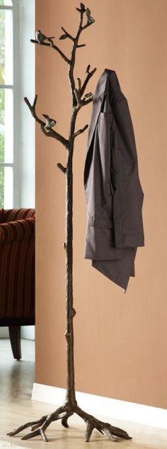 Free Standing Tree House Coat Racks Ideas For 2019 Tree Coat Rack, Diy Coat Rack, Coat Tree, Coat Racks, Tree Stump Side Table, Tree Trunk Table, Hijabs, Fashion Kids, Free Standing Coat Rack