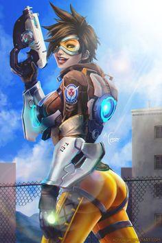 Tracer - Overwatch by Adyon on DeviantArt Cute Characters, Female Characters, Overwatch Females, Victory Pose, Overwatch Fan Art, Female Hero, Widowmaker, Anime Fantasy, Games
