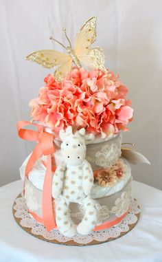 Vintage with a touch of Coral Diaper Cake by MckayCakesnCrafts