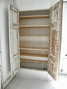 a good idea using old doors to build a storage space where there is none in a room White Farmhouse, Farmhouse Chic, Build A Closet, Old Doors, My Dream Home, Storage Spaces, Diy Furniture, Diy Home Decor, Decoration