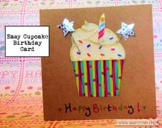 Need a last minute birthday card? Make this Easy Cupcake Birthday Card! Find out how-to at Craftyism.com | Papercraft | Card Making | Birthday Cupcake |