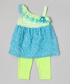 Look at this #zulilyfind! Blue Ruffle Tunic & Green Leggings - Infant, Toddler & Girls #zulilyfinds