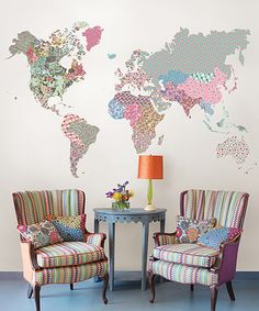 Look at this #zulilyfind! Boho World Map Giant Wall Art Decal by WallPops! #zulilyfinds