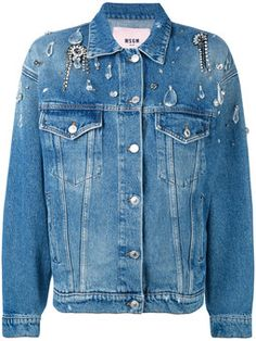 embellished boxy denim jacket