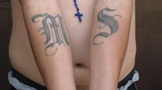 This handout photo shows an example of a tattoo of the gang Mara Salvatrucha (MS-13).