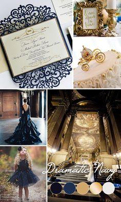 Princess wedding inspiration, navy blue and gold fairytale wedding colors 2017 - Royal navy blue laser cut wedding invite - Lasercut wedding invitation {Hyacint design - Sku: HyaNad01}