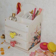 """Купить Комод для косметики """"Розы Прованса"""" - комбинированный, комод, комодик для мелочей, комодик для косметики, розы"""