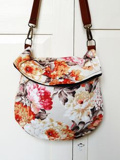 Recycled messenger bag orange floral curtain by bagswithhistory, $58.00