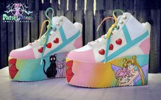 Hand painted sailor moon inspired platform flatform shoes trainers  made to order fairy kei pastel goth,kawaii,kitsch