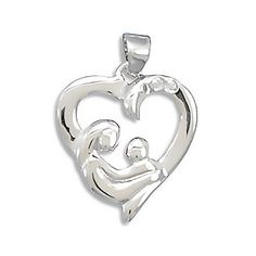 A Mother's Love - Heart Shaped Sterling Silver Gorgeous Pendant
