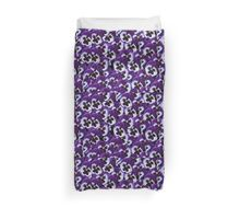 Delightful Purple And White Pansy Bouquet Duvet Cover