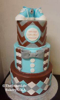 Welcome baby boy converse tie themed baby shower cake by The Sweet Life Bakery New Orleans www.nolasweetlife.com email info@nolasweetlife.com (504)371-5153 #nolasweetlife @nolasweetlife