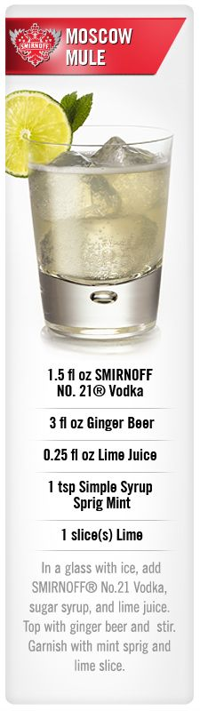 Smirnoff Moscow Mule drink recipe with Smirnoff NO. 21 vodka, ginger beer, lime juice, simple syrup and lime. #Smirnoff #drink #recipe
