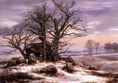 Megalithic Grave in Winter, 1825, oil on canvas by Johan Christian Dahl, Norweigan, 1788-1857. Dahl was the first great romantic painter of Norway and the founder of the Golden Age of Norwegian painting. He was also a teacher of Ernst Ferdinand Oehme and this painting is in the Museum der Bildenden Kunste in Leipzig, Germany. A megalithic tomb is constructed of large stones without mortar or cement. They are found in many places in Europe most notably in Britain, Ireland, France and ...