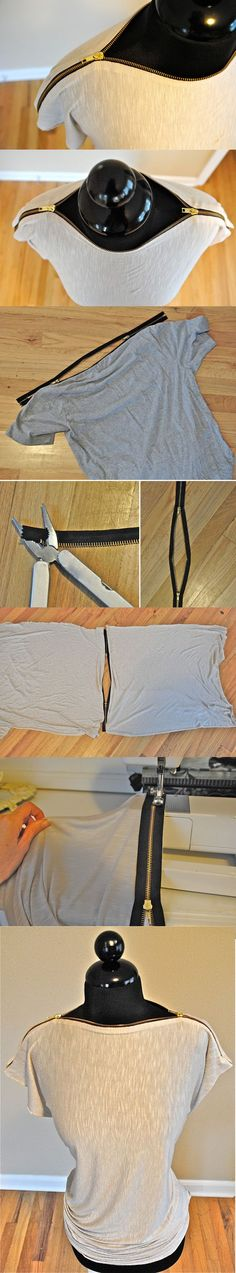 DIY: 12 Fashion Projects-blusa com ziper no decote