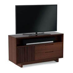 BDI Vertica 8556 Chocolate Stained Walnut Tall Media Console / Cabinet