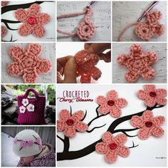 crochet flower pattern (4) Fleur Crochet, Cute Crochet, Irish Crochet, Crochet Crafts, Form Crochet, Crochet Hair Styles, Crochet Hair Accessories, Flower Applique, Artisanal
