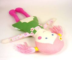 """Mini Rag Doll -- Eco-Friendly Fabric Cloth Doll -- 12"""" Camille Doll with Pink Yarn Pigtails & Green Overall Dress -- Keepsake Gift on Etsy, $32.00"""