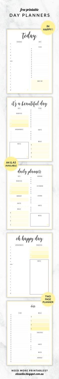 Free Printable Irma Day Planners - 4 different designs, available in A4 and A5, and in 6 different colors! More planners in the Irma design coming soon!