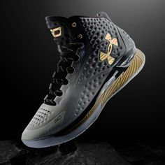 004491224329 Under Armour UA Curry One 1 MVP Gradient Black White Gold Basketball Shoes
