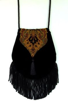 Fringed Tapestry Black Velvet Gypsy Bag Black Cross Body Bag Bohemian  Hippie…