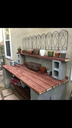 My husband made this potting bench in a day using concrete block and lumber from. My husband made this potting bench in a day using concrete block and lumber from . My husband made this potting so Landscape Design Plans, Landscape Architecture Design, House Landscape, Landscape Art, Landscape Paintings, Landscape Edging Stone, Concrete Blocks, House Layouts, Garden Projects