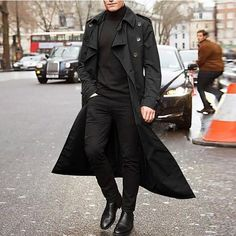 Trench Coat Outfit, Long Trench Coat, Trench Jacket, Suit Jacket, Man's Overcoat, Black Overcoat, Mode Mantel, Langer Mantel, Style Casual