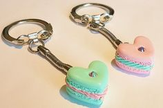 Handmade Best Friend Macaron Keychain - Polymer Clay Food BFF Macaron Charm - Miniature Food Jewelry Macaron - Best Friend Keychain Set by CakeryBakeryCharms on Etsy