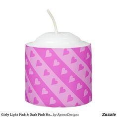 Girly Light Pink & Dark Pink Heart Stripes Pattern