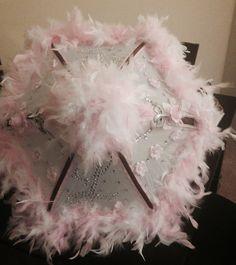 Personalized Bride umbrella  (Wedding colors: pink, chocolate & silver)