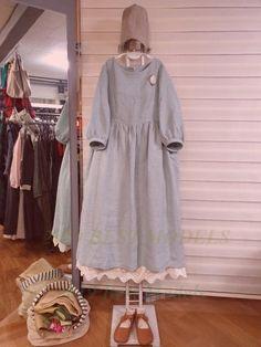 Olive linen story – in white base color …: Cacao sto … – Linen Dresses For Women Abaya Fashion, Muslim Fashion, Fashion Dresses, Linen Dresses, Casual Dresses, Linen Dress Pattern, Hijab Style Dress, Modele Hijab, Iranian Women Fashion