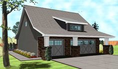 Bungalow Style House Plans - 1095 Square Foot Home , 2 Story, 1 Bedroom and 1 Bath, 3 Garage Stalls by Monster House Plans - Plan 52-276