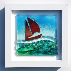 Handmade sail boat art frame by Cornish glass artist Jo Downs makes a beautiful statement piece for a seaside retreat or in the home of someone who dreams of living nearer the coast. Glass Boat, Sailboat Art, Driftwood Mirror, Framed Art, Wall Art, Nautical Gifts, Wooden Bird, Fused Glass Art, Arts And Crafts
