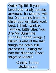 Quick Tip 55: Sing Along #music #dementia #alzheimers #carepartners #caregivers #ctcdcm CTCDementiaCareManagement.com