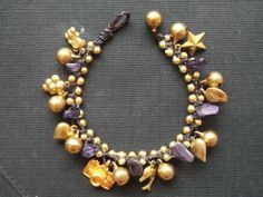 Thai handmade bracelet amethyst stone and cute brass by Nannapatt, $8.50