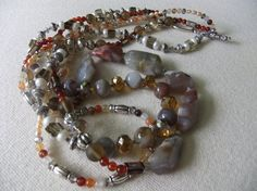 Brown Chalcedony, Red Agate, Botswana Agate, Carnelian, and Freshwater Pearl Necklace