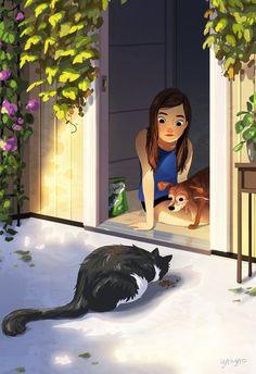 Daily Visitor, an art print by Yaoyao Ma Van As Art And Illustration, Illustrations, Amazing Drawings, Cute Drawings, Alone Art, Anime Art Girl, Aesthetic Art, Cartoon Art, Cat Art