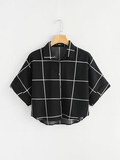 SheIn offers Cuffed Sleeve Grid Shirt & more to fit your fashionable needs. SheIn offers Cuffed Sleeve Grid Shirt & more to fit your fashionable needs. Girls Fashion Clothes, Teen Fashion Outfits, Mode Outfits, Girl Fashion, Girl Outfits, Fashion Women, Modest Fashion, Clothes For Women, Crop Top Outfits