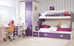 Composicion literas con mesa estudio para dos y armario Sister Bedroom, Kids Bedroom, Bedroom Loft, Kids Rooms, Bedroom Sets, Bedroom Decor, Baby Rooms, Bedrooms, Modern Bunk Beds