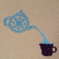 #태팅레이스#tattinglace#태팅#tatting#비즈#bead  teapot (C)Martha Ess 14*10