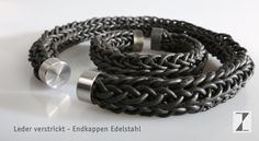 Armreif aus Leder - Endkappen Titan im Set mit Collier #Leder #Titan #Schmuck www.atelier-zellhuber.de Monat, Bracelets, Jewelry, Fashion, Necklaces, Bangle, Knitting And Crocheting, Handmade, Armband