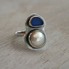 Indigo Sea Glass & Pearl Ring, Sterling Silver, Hawaiian Jewelry, Cobalt Blue Beach Glass, Hawaii, White Pearl.