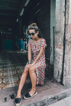 printed floral dress complete with chunky espadrilles, bracelet and sunglasses