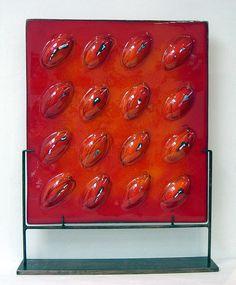 Escultura panel en vidrio fusionado  55x48 cm