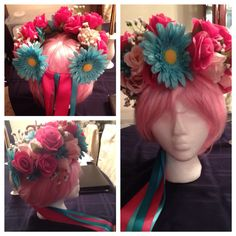 Flower crown. Using floral wire, wrap around your head for size. Repeat 3 times for sturdier circlet. Using silk flowers, cut flowers with about an inch of stem. Starting at 1 side, use floral tape and wrap entire inch of stem to the floral wire. Moving in right behind the first flower, wrap the next stem in floral tape. Repeat until circlet is covered in desired amount of flowers. Use hot glue to reinforce if necessary. Hot glue ribbons if desired.