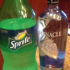 Pinnacle cake vodka and Sprite= adult key lime pie in a cup! Add orange soda for an orange creamscicle