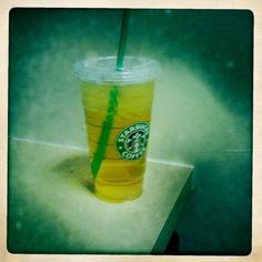 Starbucks iced green tea -- I have it every day in the spring and summer, and it makes me feel healthy, even though I order it sweetened.  It's like drinking sugar syrup with a dash of green tea.