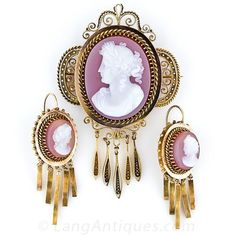 Victorian Hardstone Cameo Brooch and Earring Set - 50-1-2838 - Lang Antiques